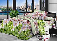 Евро комплект постельного белья DREAM-DREAM МИКРОСАТИН S 01 (Вишневый цветок)