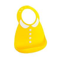 Детский силиконовый желтый нагрудник премиум-класса для девочки Make my day