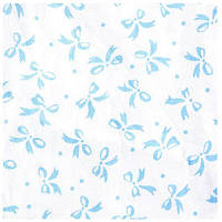 Ткань 50х50 см белая Бантики голубые