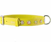 Ошейник COLLAR GLAMOUR со стразами Цветочек, ширина 9мм, длина 19-25см, желтый 32538