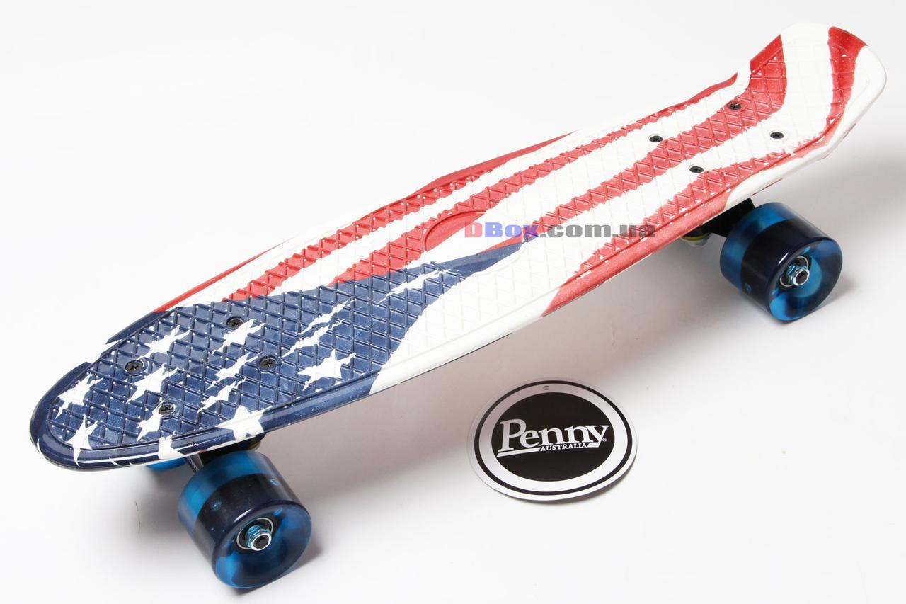 """Скейт Пенни борд Penny Style LUX 22"""" с рисунком + оригинальная гравировка Penny  Светящиеся, USA Flag (2T2035/WL/UF)"""