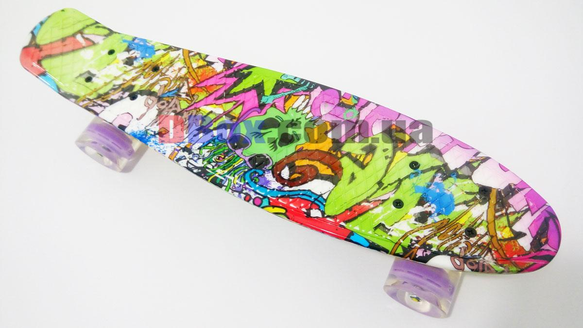 """Скейт Пенні борд Penny Style LUX 22"""" з малюнком + оригінальна гравірування Penny Світяться, Green Draft (2T2035/WL/GT)"""