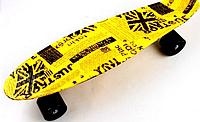 """Скейт Пенни борд Penny Style LUX 22"""" British II с рисунком + светящиеся колеса + гравировка """"Penny"""""""