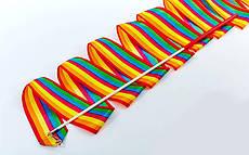 Лента гимнастическая Радуга  (лента-нейлон, палочка-металл, l-6м)