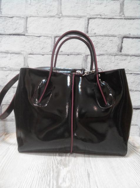 Стильная женская сумка натуральная двусторонняя кожа черная глянец 1716