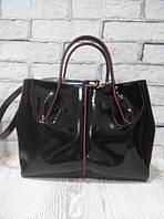 Стильная женская сумка натуральная двусторонняя кожа черная глянец 1716, фото 1