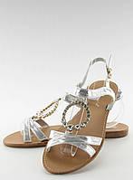 Серебристые женские сандалии lc-132 36