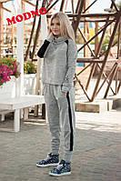 Костюм женский стильный из ангоры свитшот и брюки с отделкой из мраморного велюра разные цвета Dm636