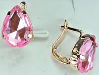 Украшения СГ630-6 Серьги с розовым камнем, англ. застежка