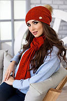 Зимний женский комплект «Мэрис» (шапка + шарф) Терракотовый