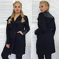 """Женское пальто-тренч на поясе с окантовкой из эко-кожи """"БАТАЛ"""" И """"НОРМА"""", черное"""