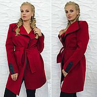 """Женское пальто-тренч на поясе с окантовкой из эко-кожи """"БАТАЛ"""" И """"НОРМА"""", БОРДО"""