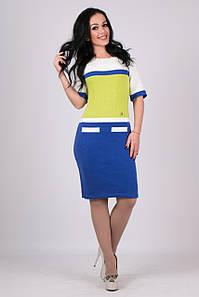 Трикотажное женские платье Карамелька чернила-яблоко-молоко