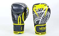 Перчатки боксерские кожаные на липучке VENUM SNAKER (р-р 10-12oz, черный-желтый)