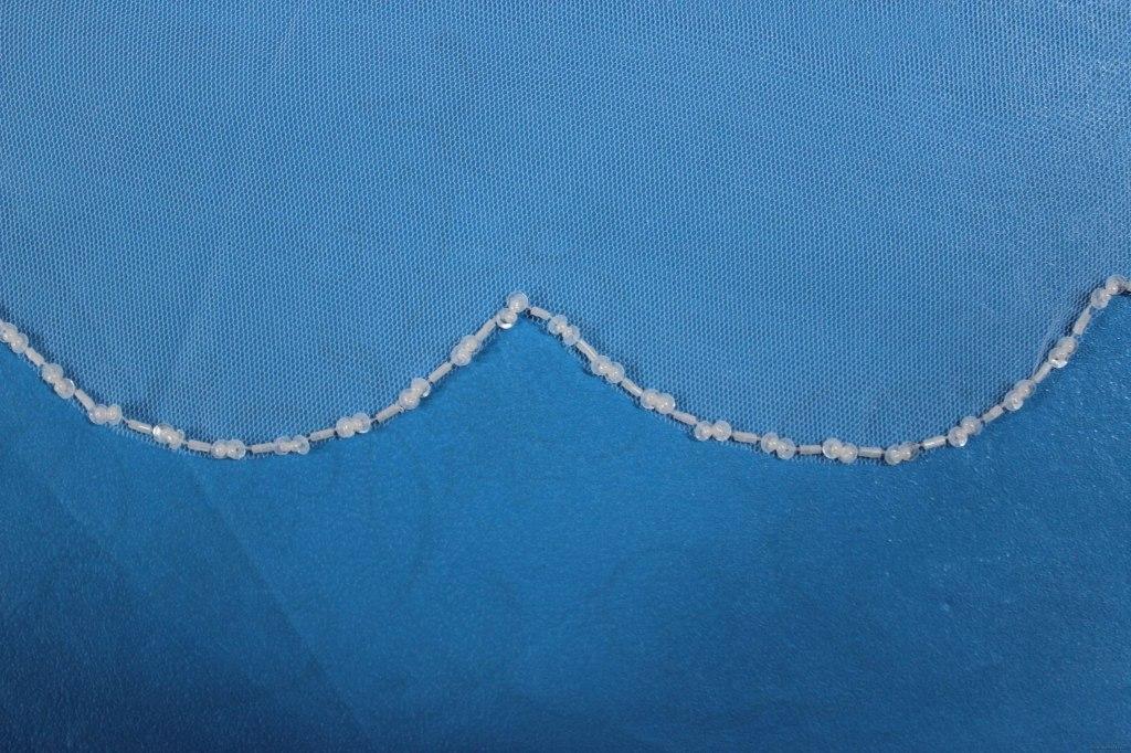 Фата с бисерной вышивкой №5