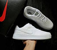 Мужские кроссовки Nike Air Force Flyknit Белые, Материал: плотный нейлон (сетка не сквозная), Прошиты