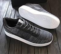Мужские кроссовки Nike Air Force Flyknit Темно-серые, Материал: плотный нейлон (сетка не сквозная), Прошиты