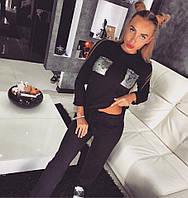 Женский осенний спортивный вязанный костюм с штанами и карманами из пайеток (разные цвета)