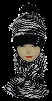 Комплект детский шарф-хомут и шапка в полоску