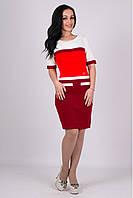 Трикотажное женские платье Карамелька вишня-алый-молоко