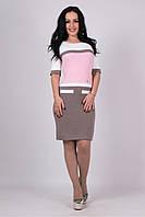 Трикотажное женские платье Карамелька капучино-розовый-молоко