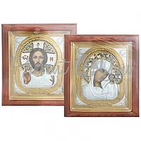 Венчальная пара икон Христос и Богородица Казанская, 28х23,5х3,5 см (812-3001)