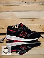 Кроссовки мужские замш new balance 997 черные с красным