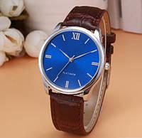 Мужские часы с синим циферблатом и коричневым ремешком (ч-2)