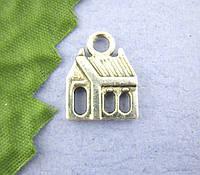 """Подвеска """"Дом"""", Античное Серебро, 13mm*17mm"""