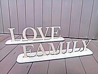 Декоративные слова из дерева на подставках