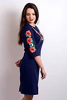 """Вишите плаття """"Квітуче поле"""" (синє)"""