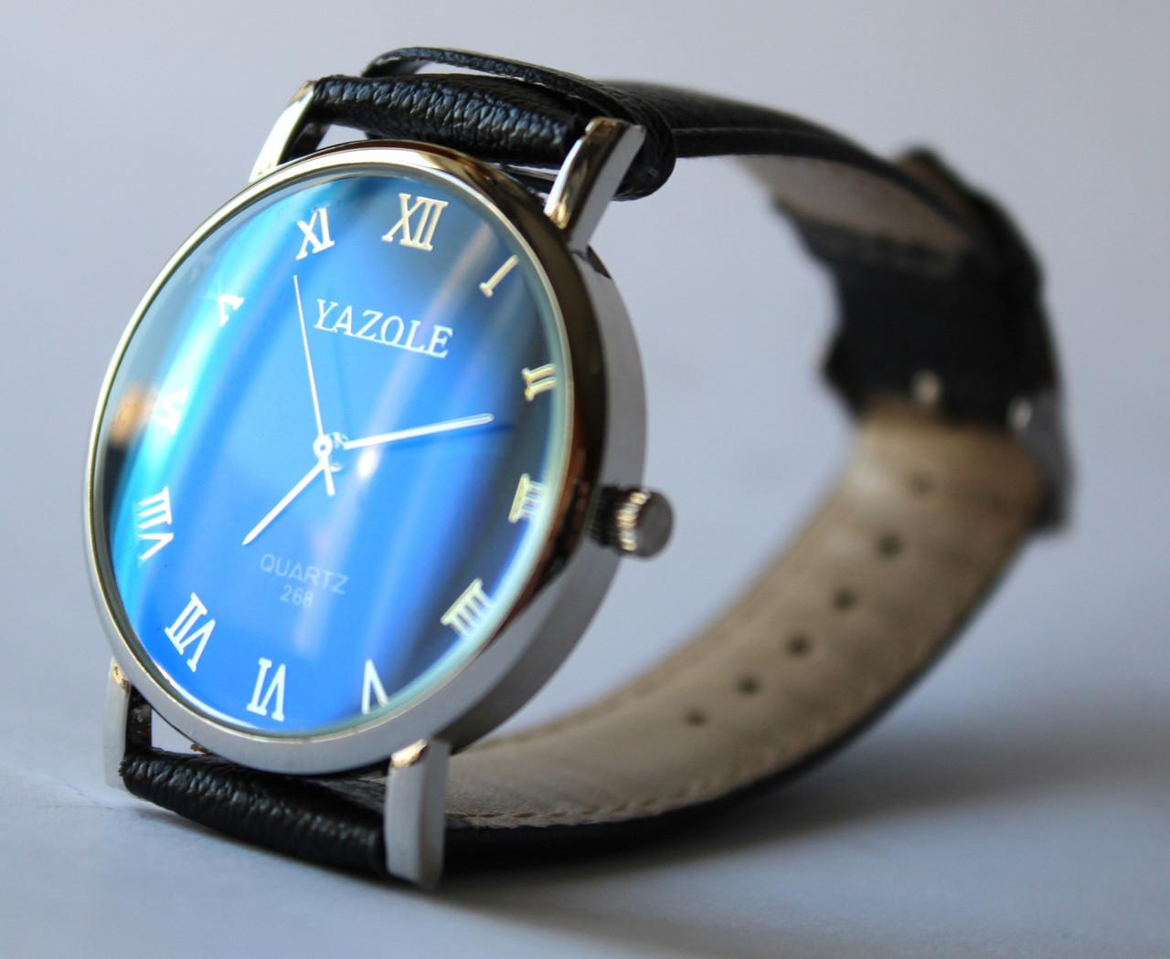 Чоловічий наручний годинник чорно-синього кольору (ч-3) - интернет магазин
