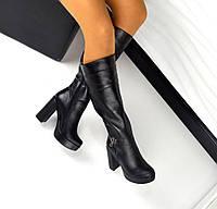 Демисезонные сапожки Laura каблук 11 см, натуральная кожа внутри байка