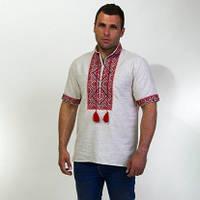 Нарядная мужская сорочка на льне с красным орнаментом