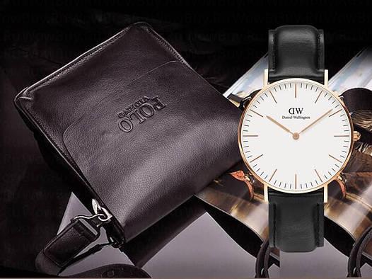 Мужская сумка через плечо Polo Videng+часы в Подарок