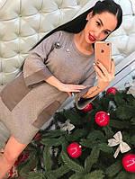 Модное платье твид с карманами экокожа и брошью