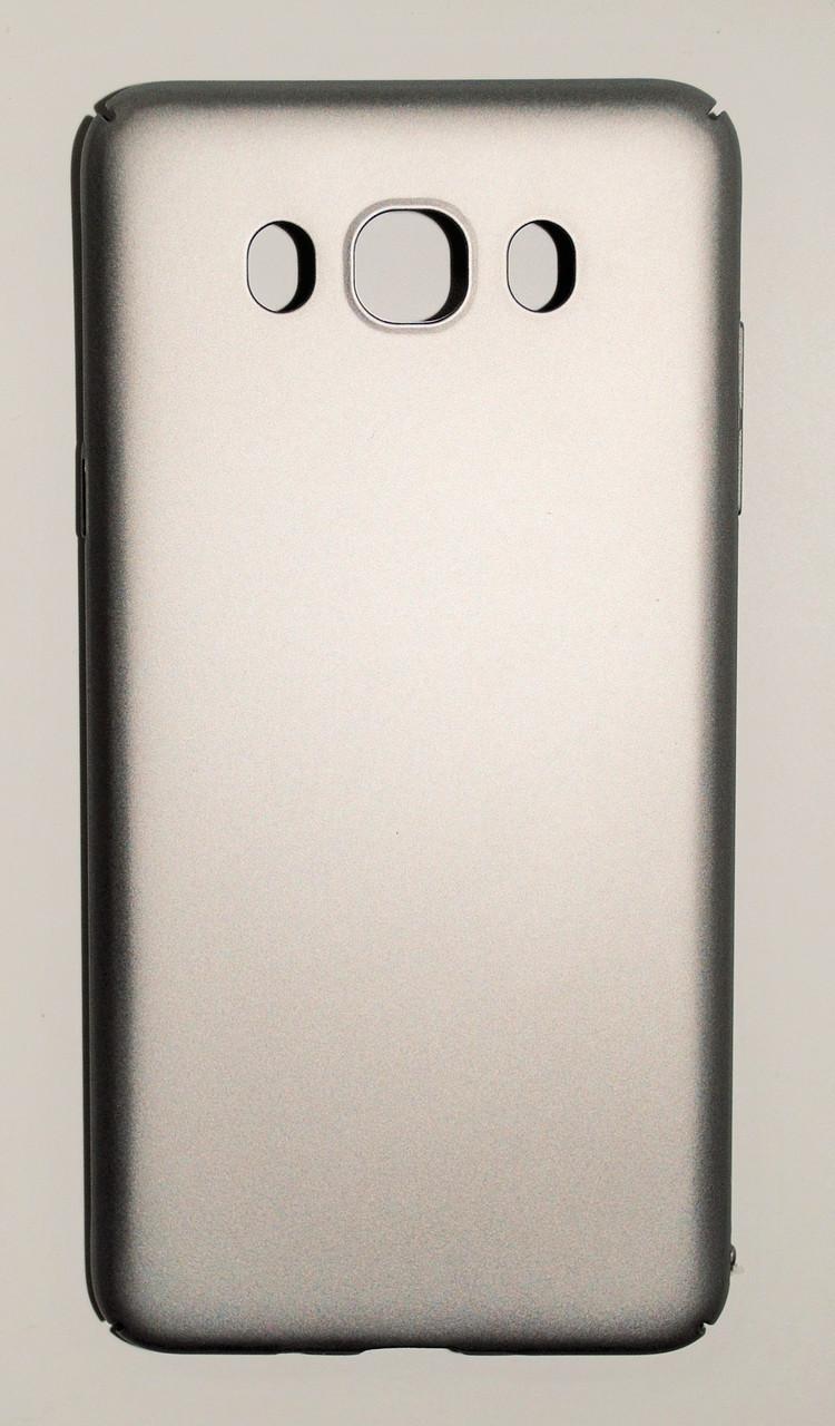 Чехол на Самсунг Galaxy J7 J710 (2016) PC Soft Touch матовый мягкий Пластик Серебро