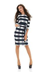 Платье клетка+пояс 06/3078