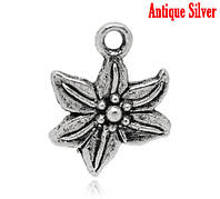 """Подвеска """"Цветок"""", Античное Серебро,16x13mm"""
