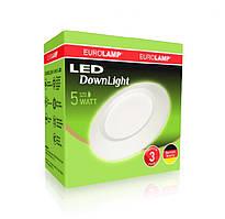 LED Downlight Eurolamp 5W 3000K круглый
