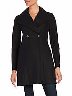 Женское стильное оригинальное черное шерстяное пальто весна/осень американского бренда Michael Kors