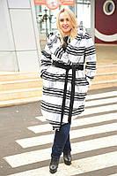 Стильное женское кашемировое пальто с капюшоном большие размеры черно-белое