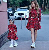 "Красивое платье в клетку ""Family look""-мама и дочка, 2 цвета"