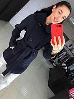 Кашемировое короткое женское пальто с поясом В30114, фото 1