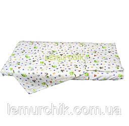 Постельный набор в детскую кроватку байковый (3 предмета), Аист с малышом