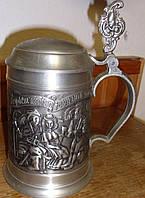 Пивной оловянный бокал с крышкой  9а Германия
