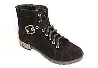 Ботинки  женские замшевые, черный цвет