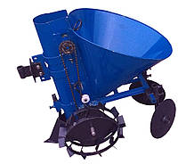 Картофелесажатель мотоблочный К-1Л (синий) с транспортировочными колесами