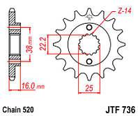 Звезда передняя JT JTF736.15