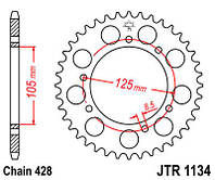 Звезда задняя JT JTR1134.48